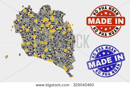 Mosaic Gear Ko Pha Ngan Map And Blue Made In Textured Stamp. Vector Geographic Abstraction Model For