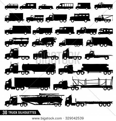 A Collection Of Truck Silhouettes, Set Of Truck Icons, Big And Small Trucks