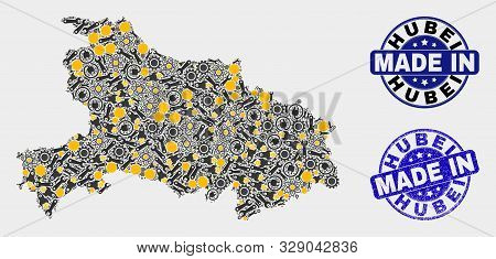 Mosaic Industrial Hubei Province Map And Blue Made In Textured Seal. Vector Geographic Abstraction M