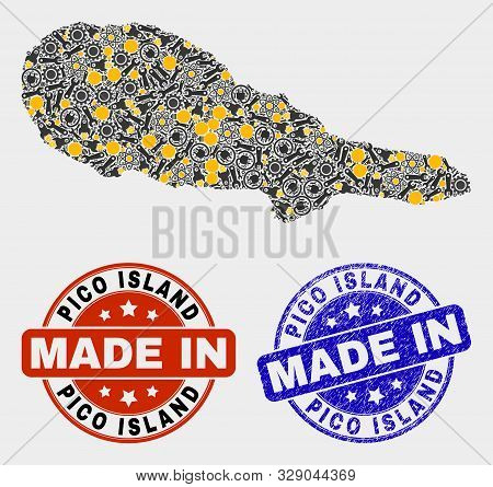Mosaic Industrial Pico Island Map And Blue Made In Textured Seal. Vector Geographic Abstraction Mode