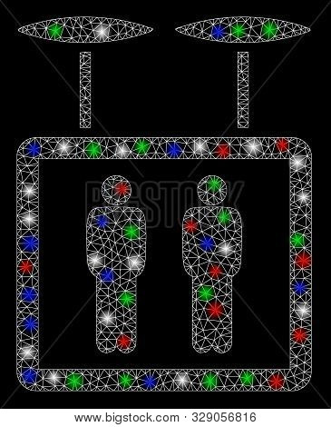 Bright mesh airdrone elevator with glare effect. White wire carcass triangular mesh in vector format on a black background. Abstract 2d mesh created from triangular lines, dots, colorful glare spots. poster