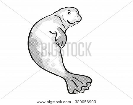 Retro Cartoon Mono Line Style Drawing Of A Hawaiian Monk Seal, An Endangered Wildlife Species On Iso