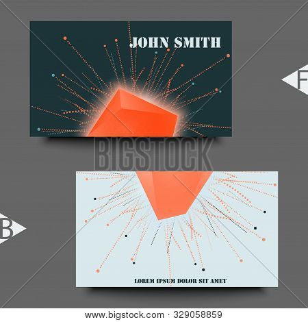 Abstract Faceted Element Cracked Into Multiple Fragments. Explosion Effect. Business Card Template.