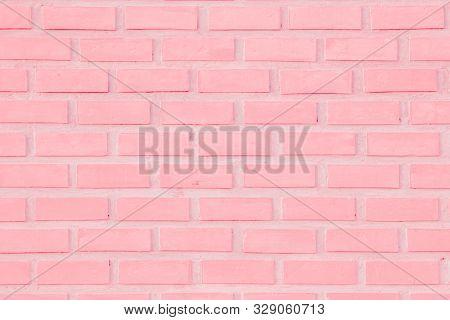 Pastal Pink And White Brick Wall Texture Background. Brickwork Or Stonework Flooring Interior Rock O