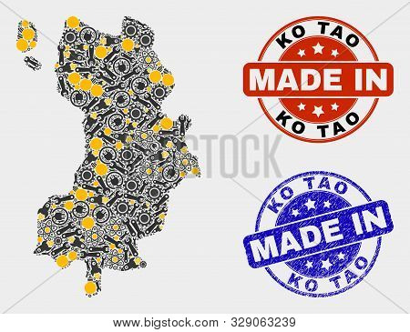 Mosaic Industrial Ko Tao Map And Blue Made In Textured Stamp. Vector Geographic Abstraction Model Fo