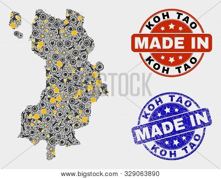 Mosaic Technical Koh Tao Map And Blue Made In Textured Seal. Vector Geographic Abstraction Model For