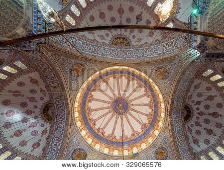 Istanbul, Turkey - April 16 2017: Decorated Ceiling At Sultan Ahmed Mosque (blue Mosque) Showing The