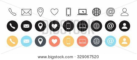 Set Of Contact Us Linear And Colorful Flat Isolated Icons. Web Communication Icons Isolated. Flat Si