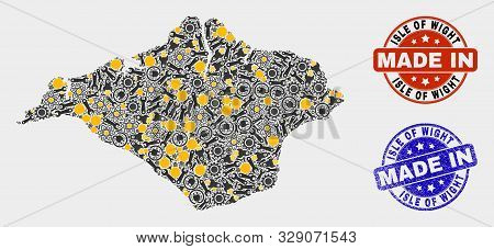 Mosaic Industrial Isle Of Wight Map And Blue Made In Textured Stamp. Vector Geographic Abstraction M