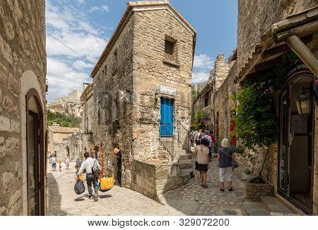Les Baux De Provence, France - June 26, 2017: Street In Medieval Village Of Les Baux. Les Baux Is No