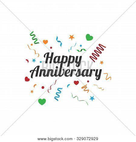 Happy Anniversary Greeting Card Vintage Vector Image