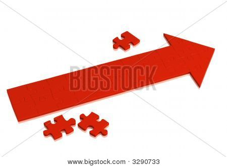 Red Arrow Made Of Pieces Of Puzzle