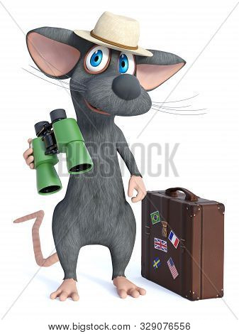 3d Rendering Of A Cute Smiling Cartoon Mouse Wearing A Hat And Holding Binoculars, Looking Like A To