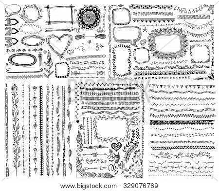 Set Of Doodle Sketch Frame, Line, Corner And Divider