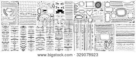 Mega Set Of Doodle Sketch Frame, Line, Corner And Divider