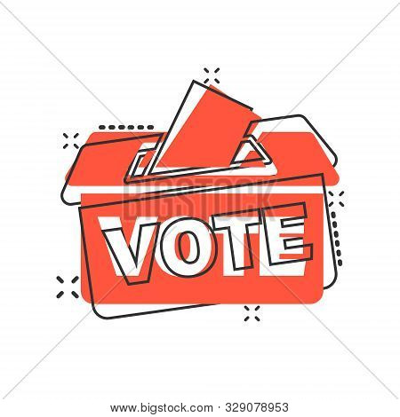 Election Voter Box Icon In Comic Style. Ballot Suggestion Vector Cartoon Illustration Pictogram Spla