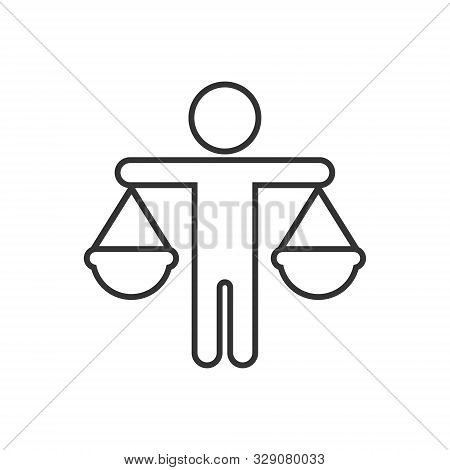 Ethic Balance Icon In Flat Style. Honesty Vector Illustration On Isolated Background. Decision Busin