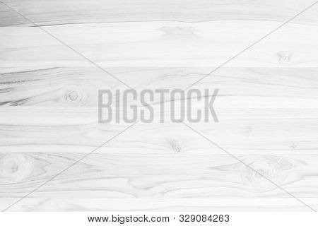 White Wood Plank Texture Background. Vintage Wooden Board Wall Have Antique Cracking Style Backgroun