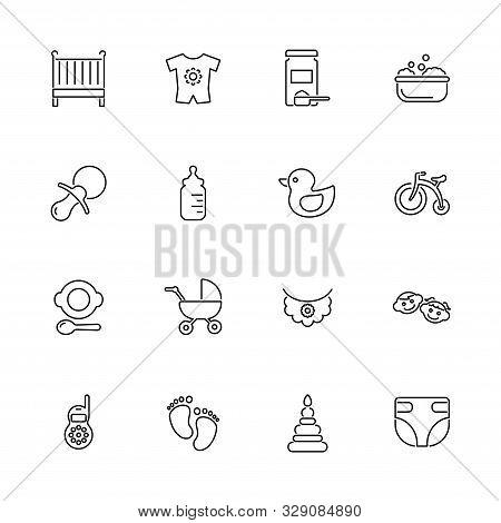 Baby, Children Outline Icons Set - Black Symbol On White Background. Baby, Children Simple Illustrat