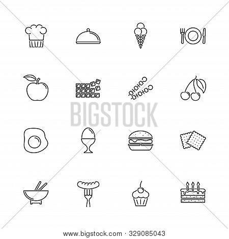 Food, Diner Outline Icons Set - Black Symbol On White Background. Food, Diner Simple Illustration Sy