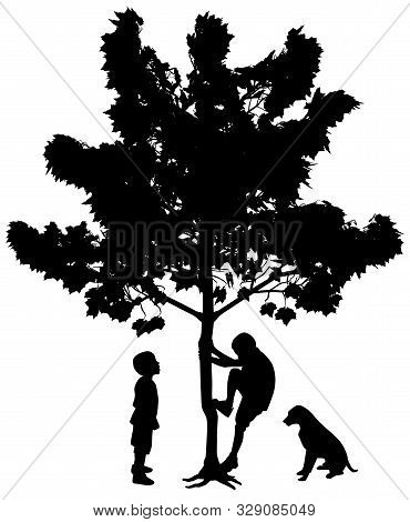 Two Best Friends, Little Boys With Dog. One Boy Is Climbing Up A Tree While Another Boy Is Standing