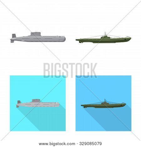 Vector Design Of War And Ship Logo. Set Of War And Fleet Stock Symbol For Web.