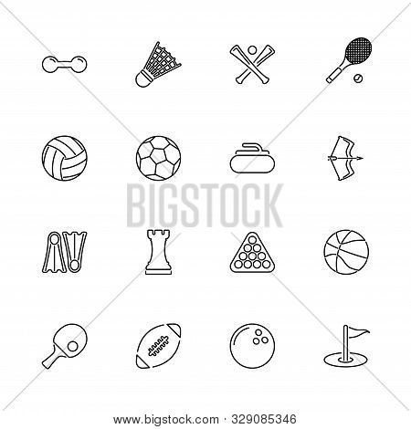 Sport Games, Ball Outline Icons Set - Black Symbol On White Background. Sport Games, Ball Simple Ill