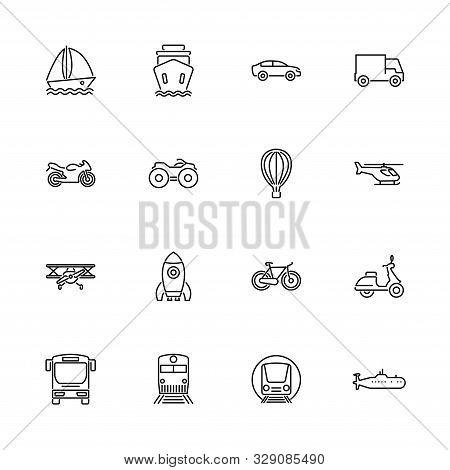 Transport, Transportation Outline Icons Set - Black Symbol On White Background. Transport, Transport