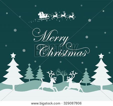 Illustration Of A White Christmas Tree And Two Deer Around It. Santa Claus On Christmas Eve. Christm