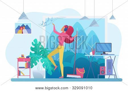 Room Cleaning With Music Flat Vector Illustration. Young Woman, Housewife In Headphones Dancing With