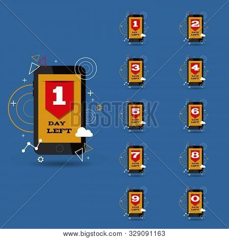 Flat Mobile Phone Day Left Set For Your Design Eps 10 Vector Illustration