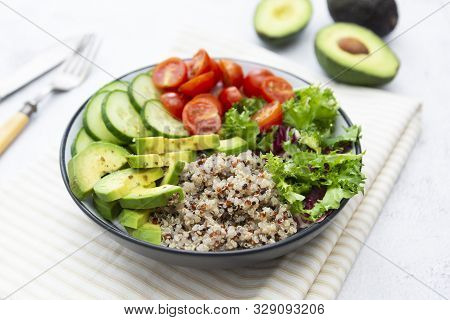 Healthy Food. Budha Bowl With Quinoa, Avocado, Cucumber, Salad, Tomatoe, Olive Oil Clean Eating Diet