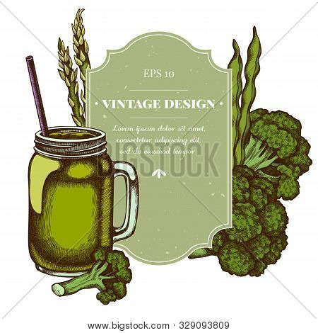 Badge Design With Colored Broccoli, Green Beans, Smothie Jars Stock Illustration