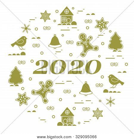 Happy New Year 2020 Card. Merry Christmas. Vector Illustration With Gingerbread Man, Bell, House, Bi