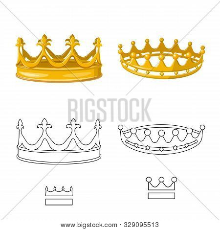 Isolated Object Of Medieval And Nobility Logo. Set Of Medieval And Monarchy Stock Symbol For Web.