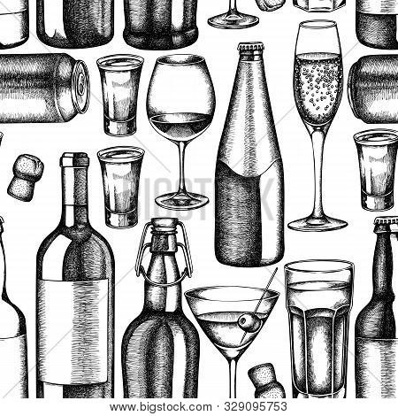 Seamless Pattern With Black And White Glass, Champagne, Mug Of Beer, Alcohol Shot, Bottles Of Beer,