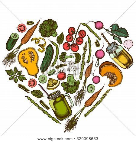 Heart Floral Design With Colored Lemons, Broccoli, Radish, Green Beans, Cherry Tomatoes, Beet, Green