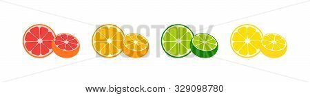 Fresh Citrus Fruits Vector Icons Collection. Fresh Citrus Fruits In Modern Simple Flat Design. Fresh