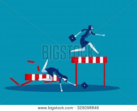 Competition Business, Concept Business Vector Illustration, Flat Business Cartoon, Defeat, Loss, Riv