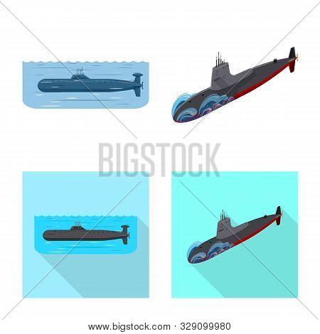 Vector Illustration Of War And Ship Symbol. Set Of War And Fleet Stock Symbol For Web.