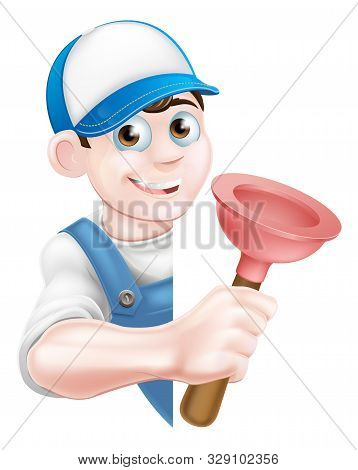 A cartoon plumber man in a cap hat and blue overalls holding a plunger tool and peeking around a sign poster