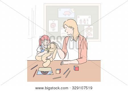 Motherhood, Parenting, Babysitting Concept. Mother And Daughter Playing Together, Little Girl With T