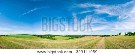 poster of Panorama of summer green field. European rural view. Beautiful landscape of wheat field and green grass with stunning blue sky and cumulus clouds in the background.