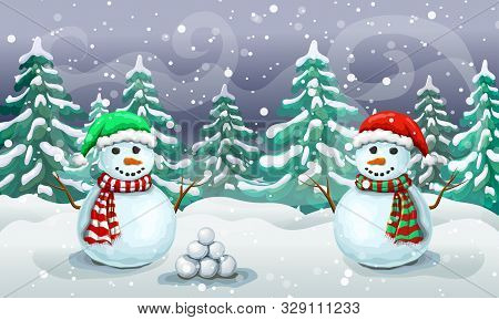 Christmas Snowy Scene With Couple Of Snowmen In Santa Hats. Christmas Card Template Or Holiday Banne