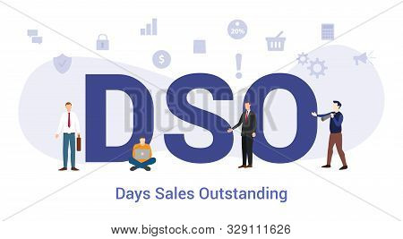 Dso Days Sales Outstanding Concept With Big Word Or Text And Team People With Modern Flat Style - Ve