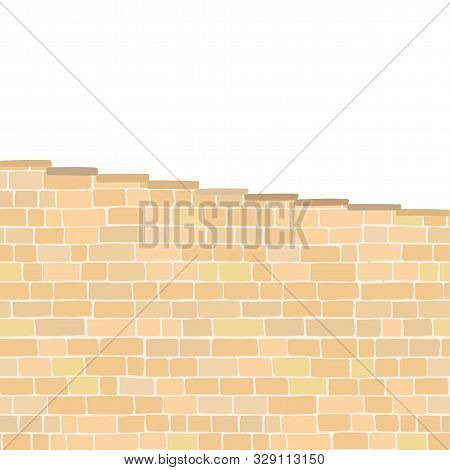 Ancient Stone Stairway In Sandy Colors Isolated On White Background