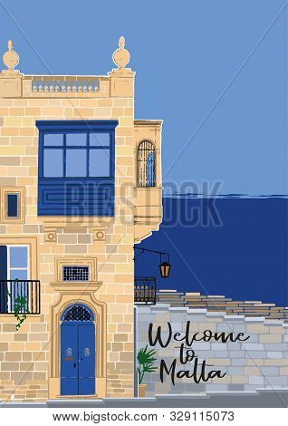 Traditional Maltese Valletta House Made Of Sandy Stone With A Sea On The Background.
