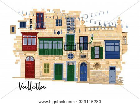 Part Of Traditional Maltese Houses In Valletta Made Of Sandy Stone Bricks With Various Doors, Window