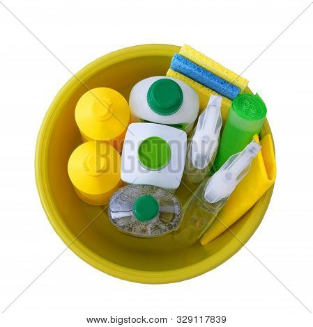 Set Of Green And White Cleaning Supplies Isolated On White Background. Cleaning Accessories. Isolate