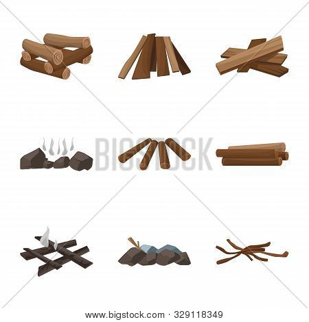 Vector Illustration Of Timber And Nature Icon. Set Of Timber And Construction Stock Vector Illustrat